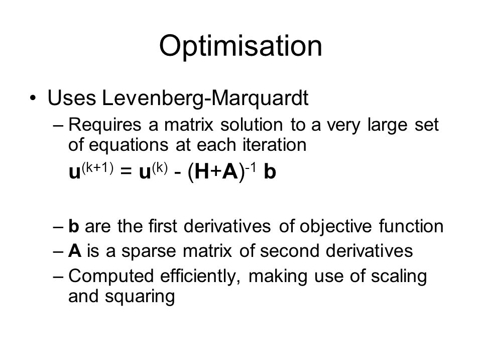 Optimisation Uses Levenberg-Marquardt