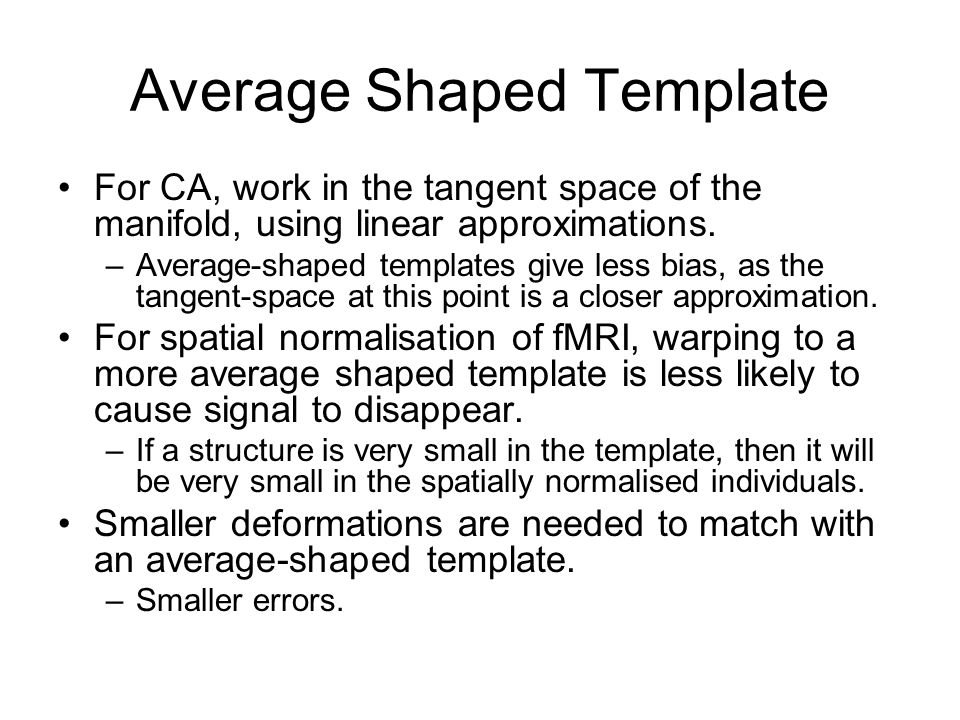 Average Shaped Template