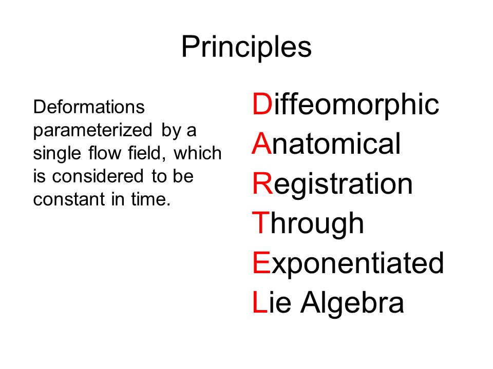 Principles Diffeomorphic Anatomical Registration Through Exponentiated
