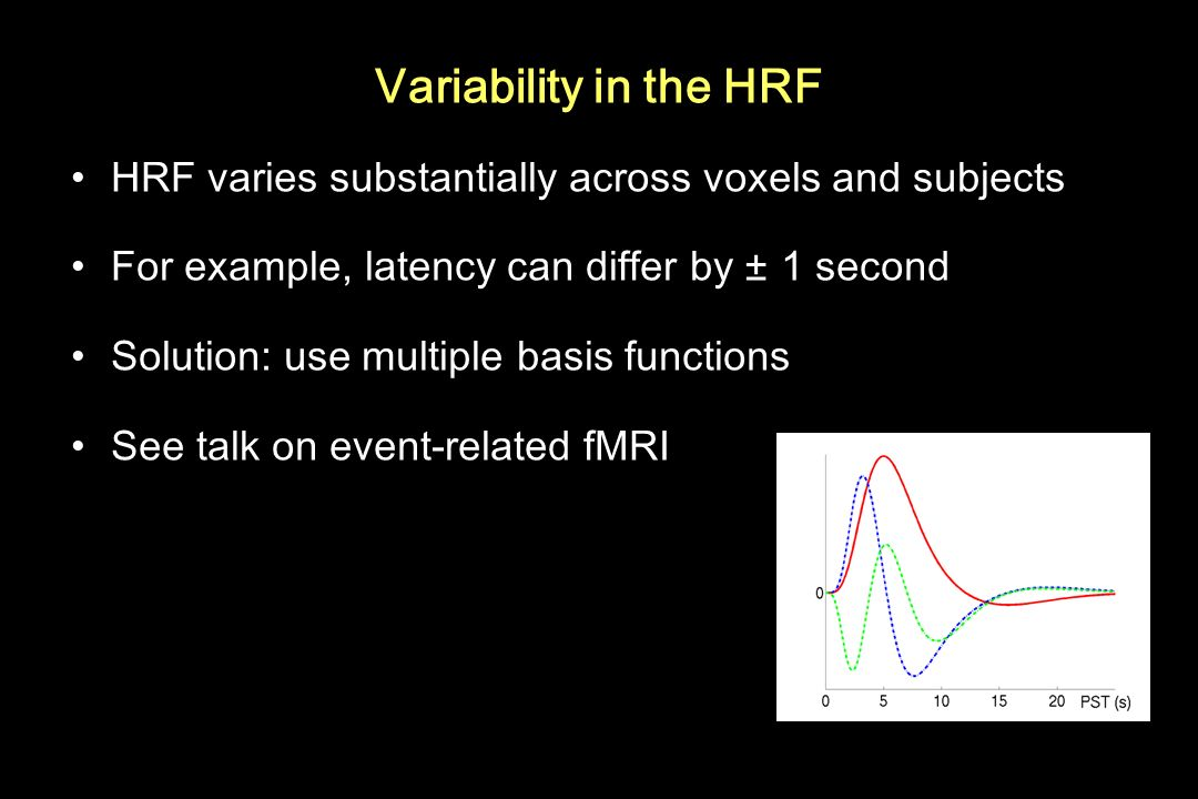 Variability in the HRF HRF varies substantially across voxels and subjects. For example, latency can differ by ± 1 second.