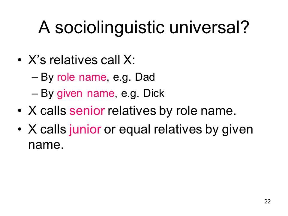 A sociolinguistic universal