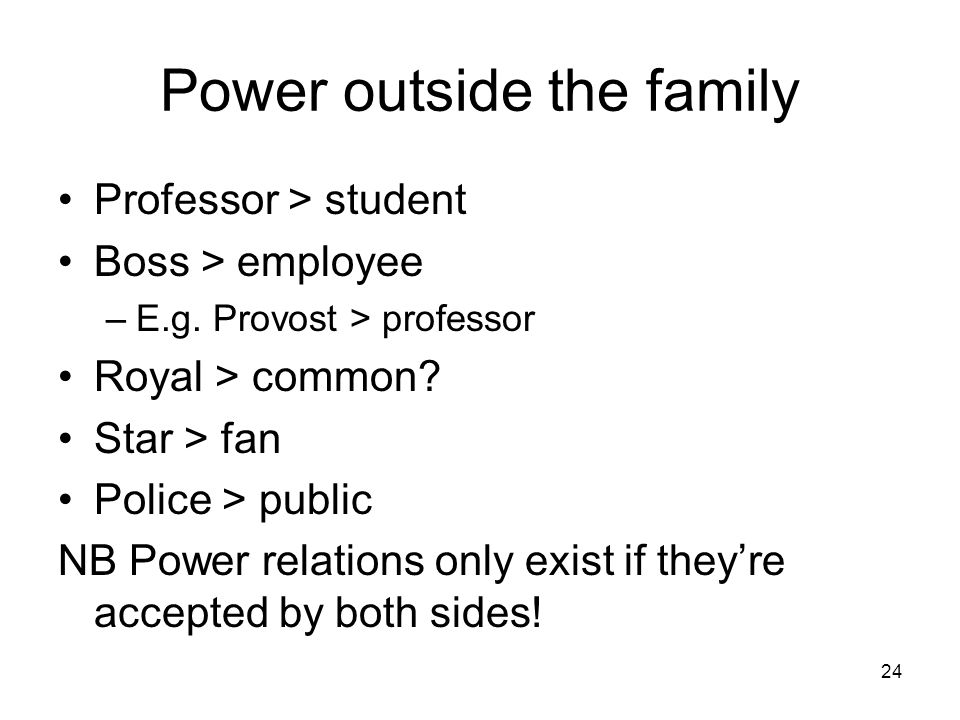 Power outside the family