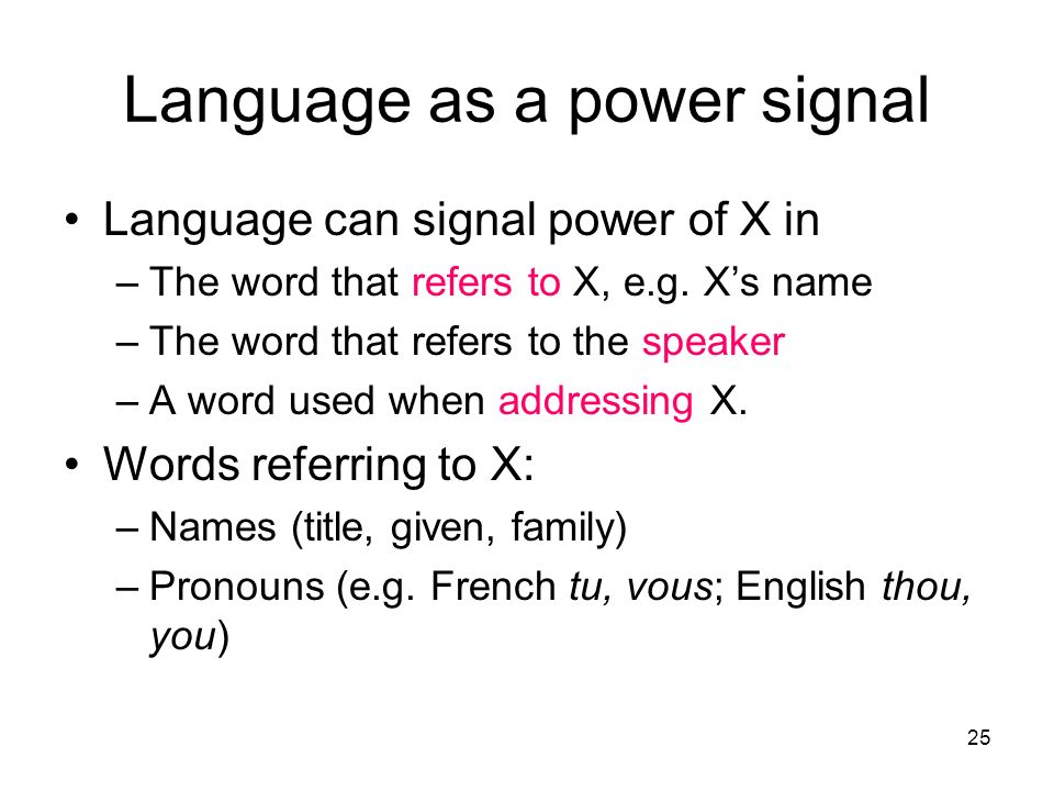 Language as a power signal