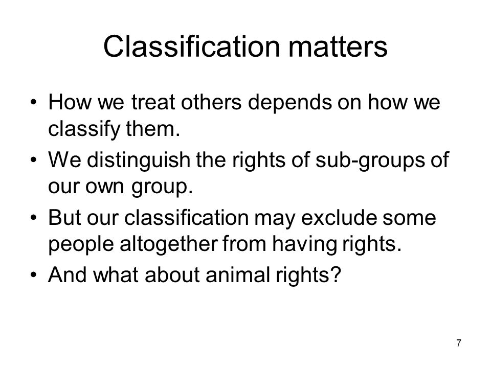 Classification matters