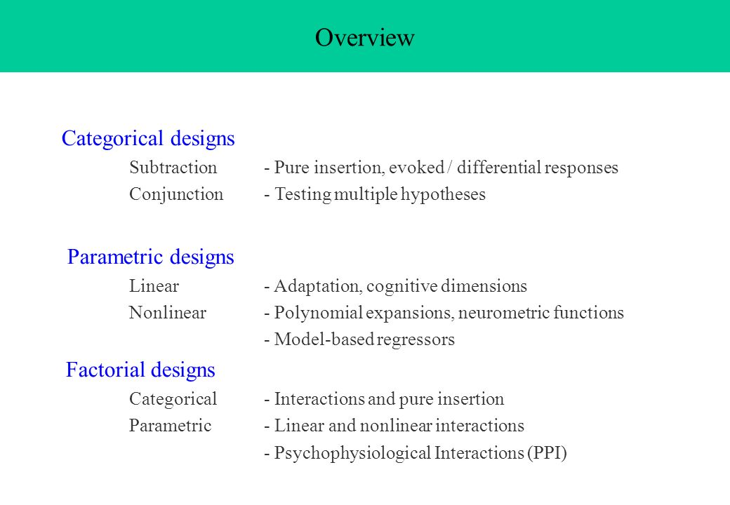 Overview Categorical designs Parametric designs