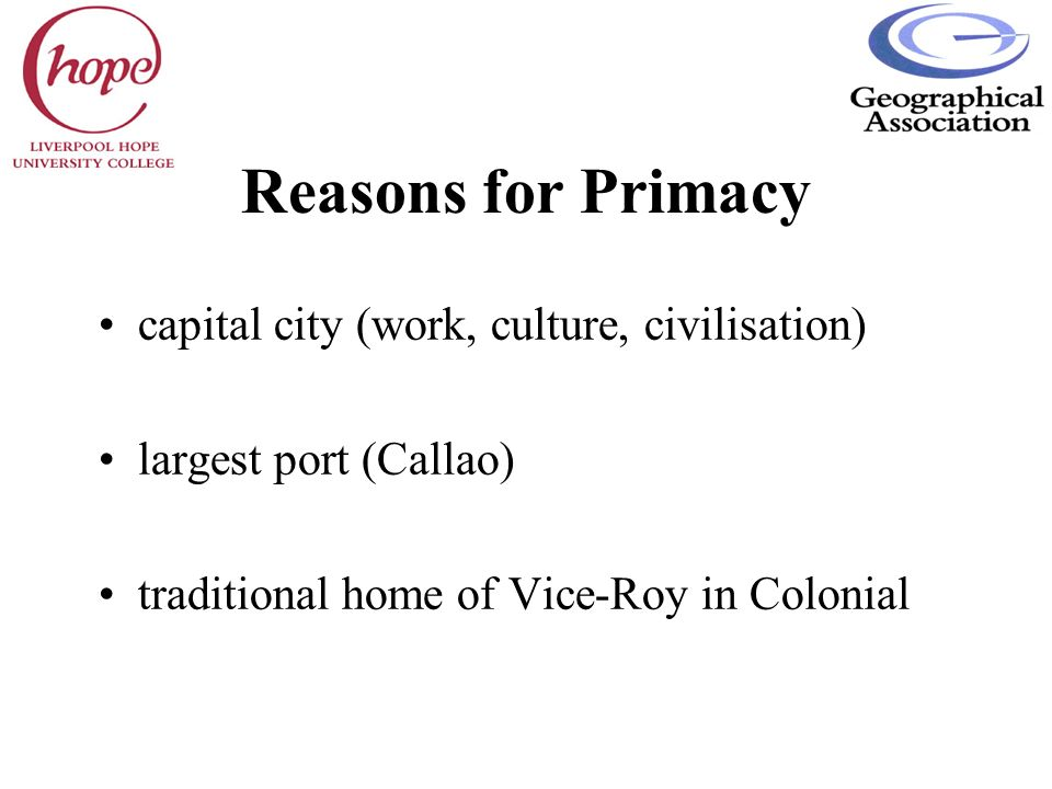 Reasons for Primacy capital city (work, culture, civilisation)