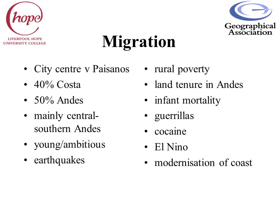 Migration City centre v Paisanos 40% Costa 50% Andes