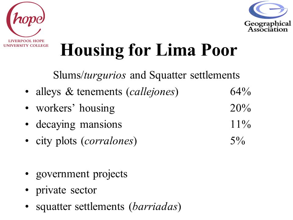 Slums/turgurios and Squatter settlements