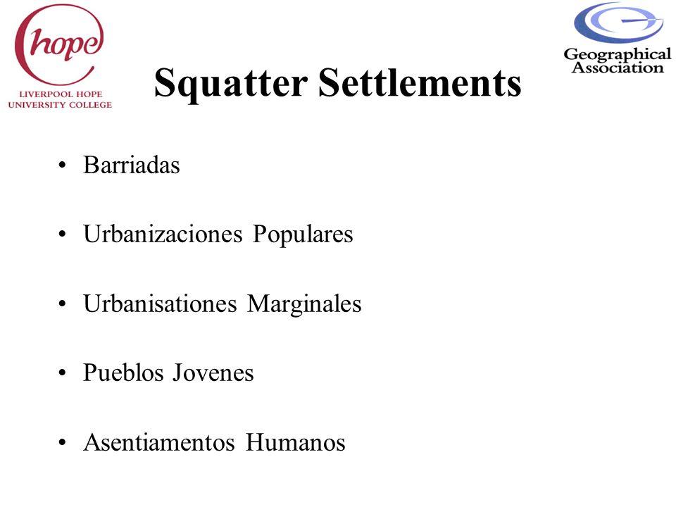 Squatter Settlements Barriadas Urbanizaciones Populares
