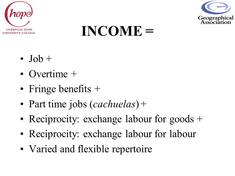 INCOME = Job + Overtime + Fringe benefits +