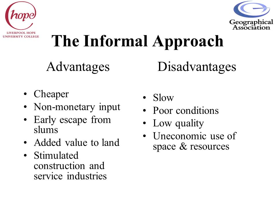 The Informal Approach Advantages Disadvantages Cheaper Slow