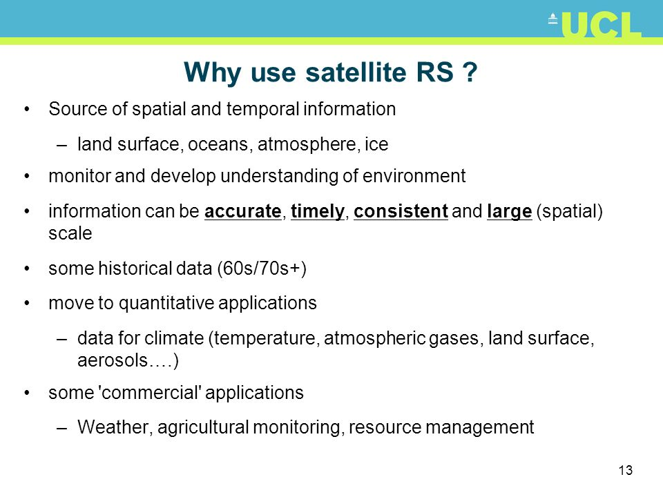Why use satellite RS Source of spatial and temporal information