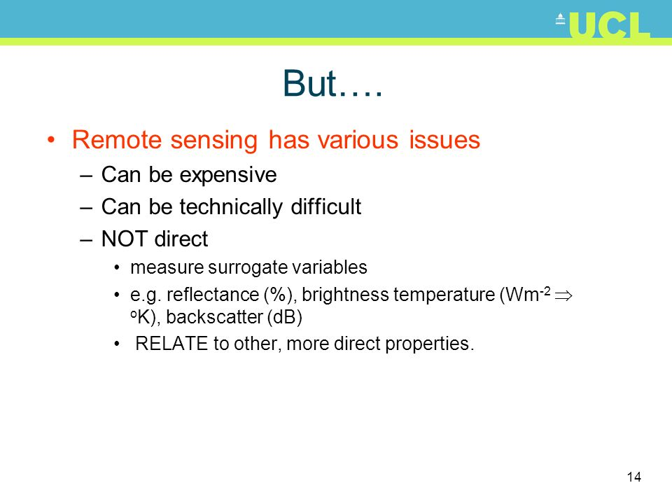 But…. Remote sensing has various issues Can be expensive