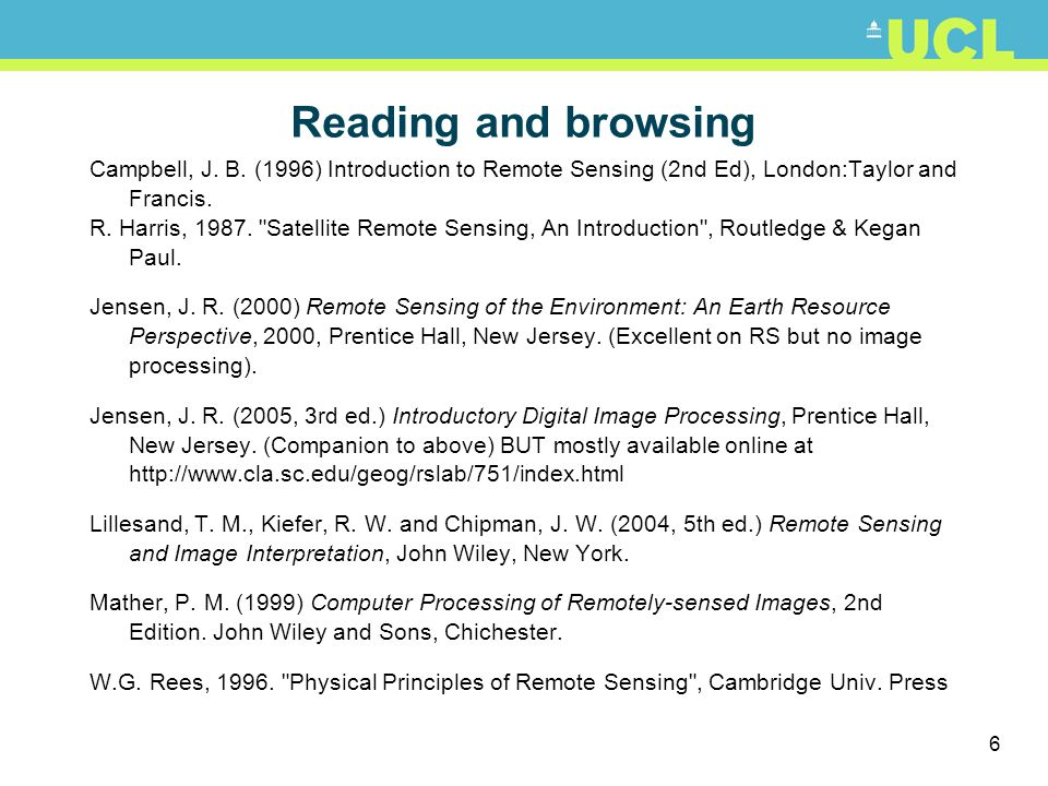 Reading and browsing Campbell, J. B. (1996) Introduction to Remote Sensing (2nd Ed), London:Taylor and Francis.