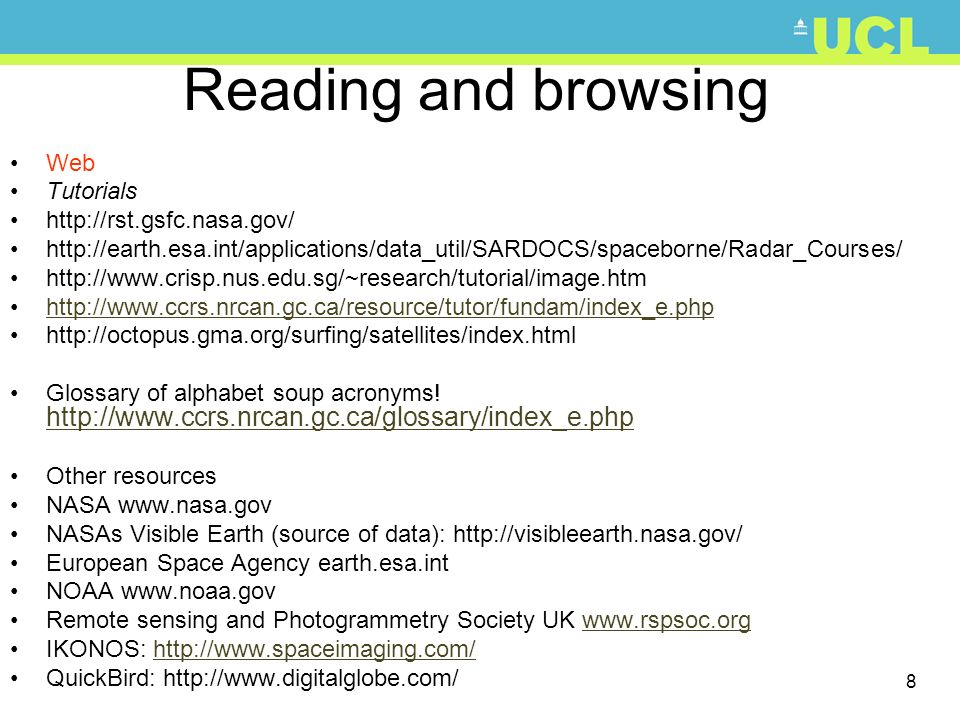 Reading and browsing Web Tutorials http://rst.gsfc.nasa.gov/