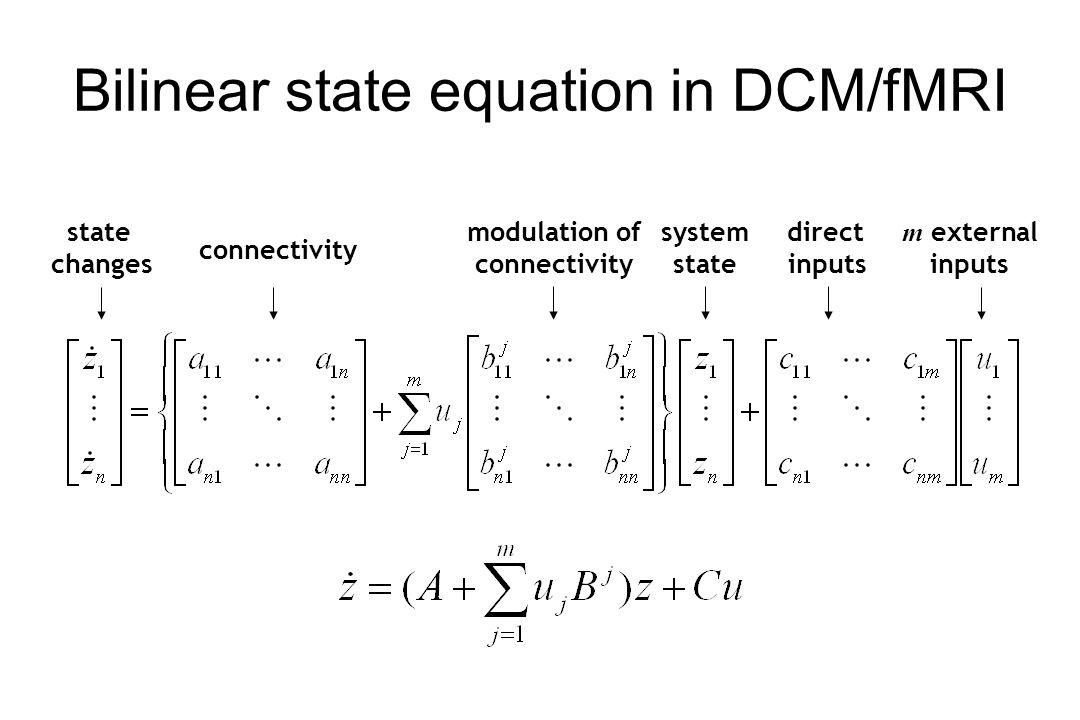 Bilinear state equation in DCM/fMRI