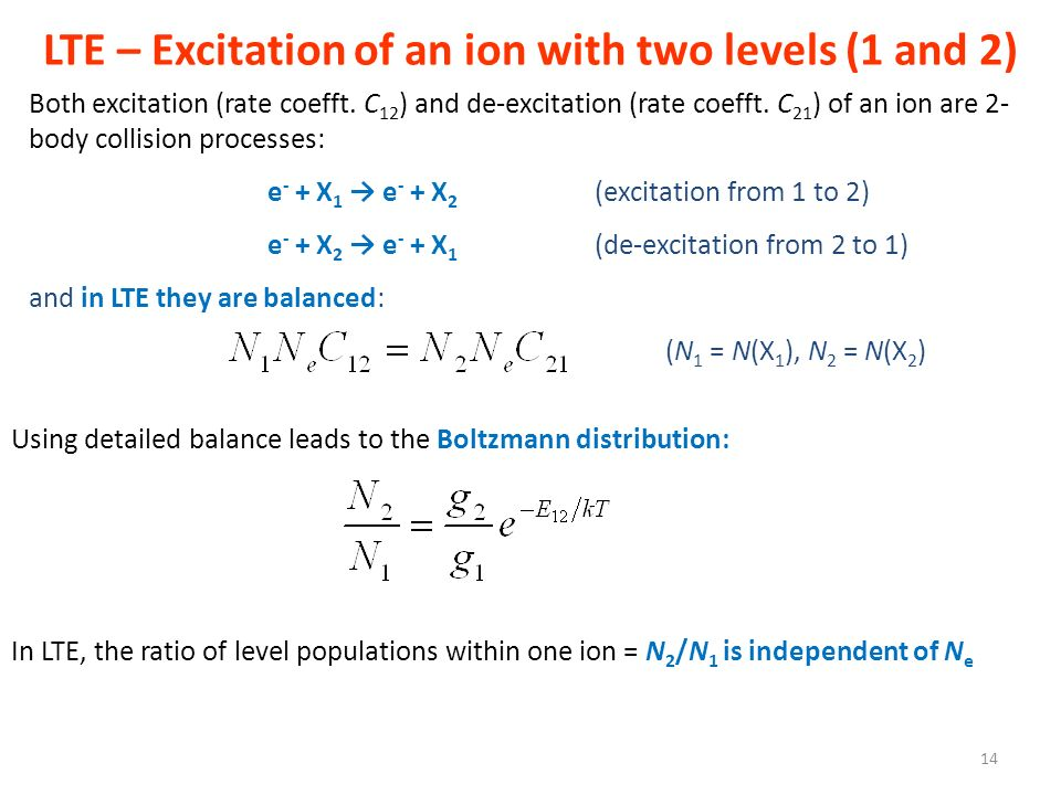 LTE – Excitation of an ion with two levels (1 and 2)
