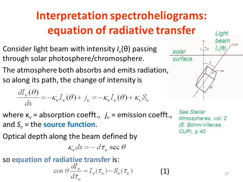 Interpretation spectroheliograms: equation of radiative transfer