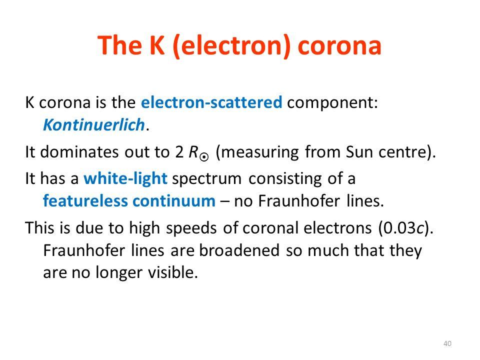 The K (electron) corona