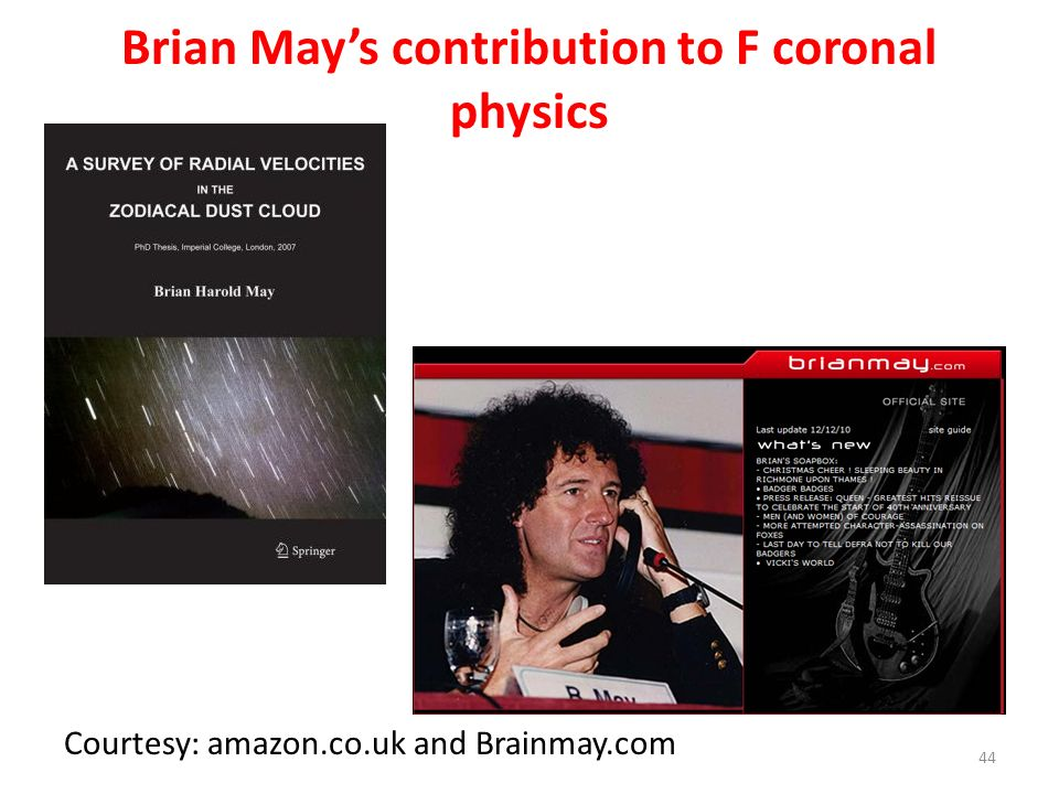 Brian May's contribution to F coronal physics