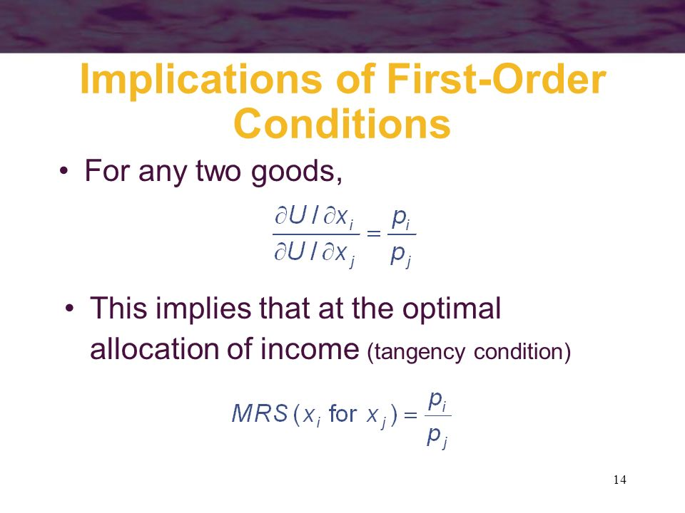 Implications of First-Order Conditions