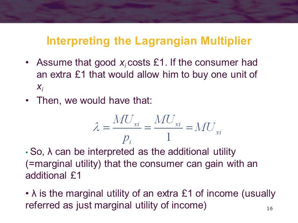 Interpreting the Lagrangian Multiplier
