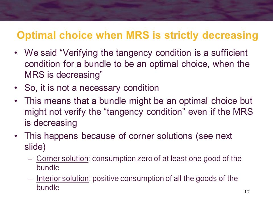 Optimal choice when MRS is strictly decreasing