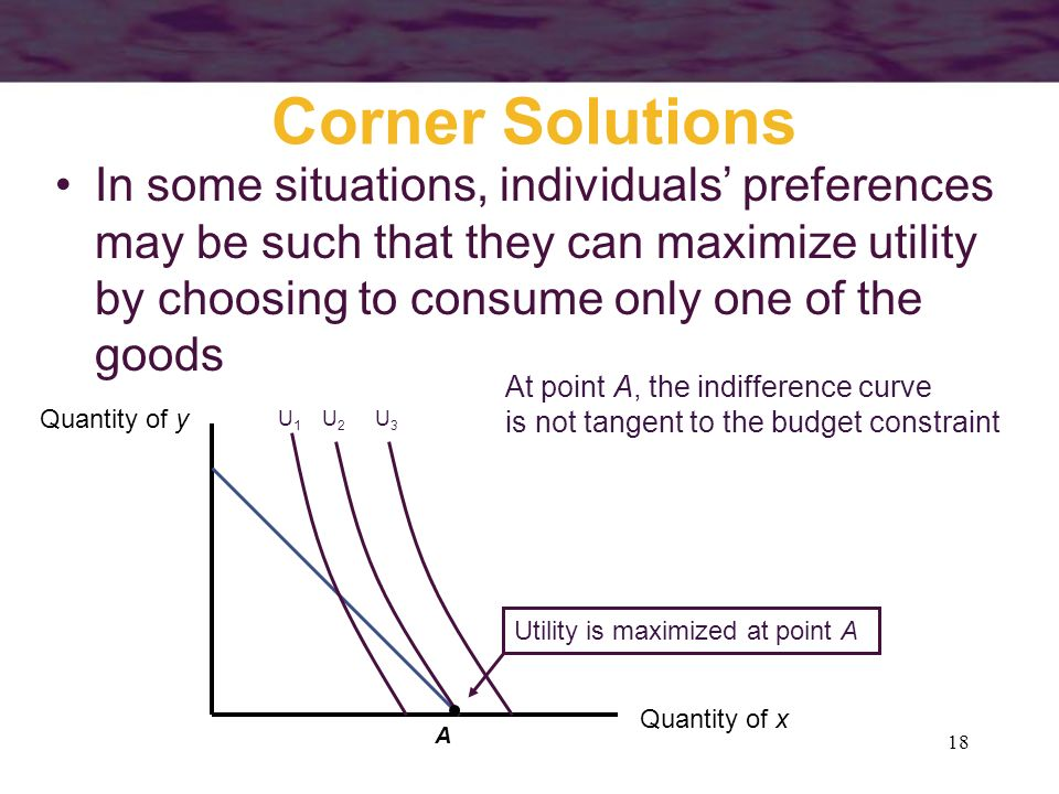 Corner Solutions In some situations, individuals' preferences may be such that they can maximize utility by choosing to consume only one of the goods.
