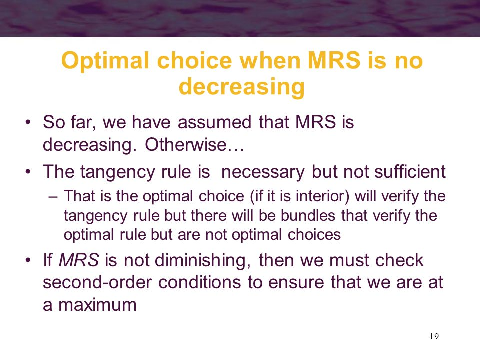 Optimal choice when MRS is no decreasing