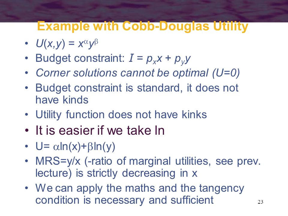Example with Cobb-Douglas Utility