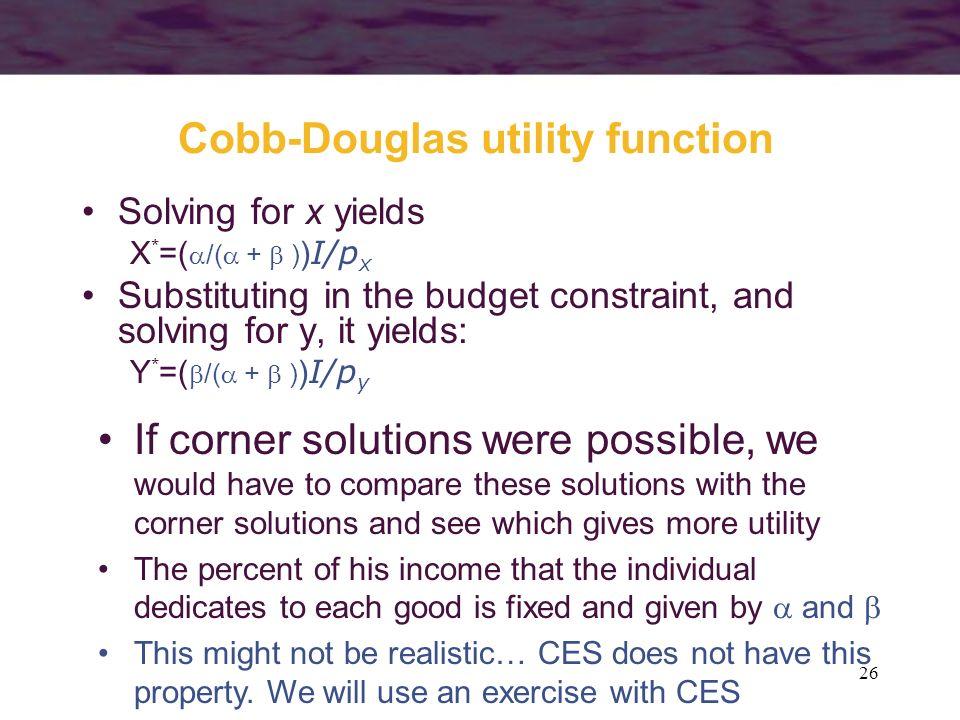 Cobb-Douglas utility function