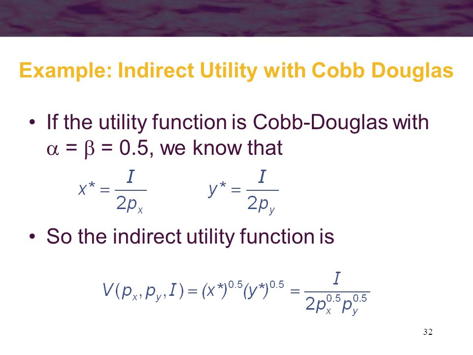 Example: Indirect Utility with Cobb Douglas