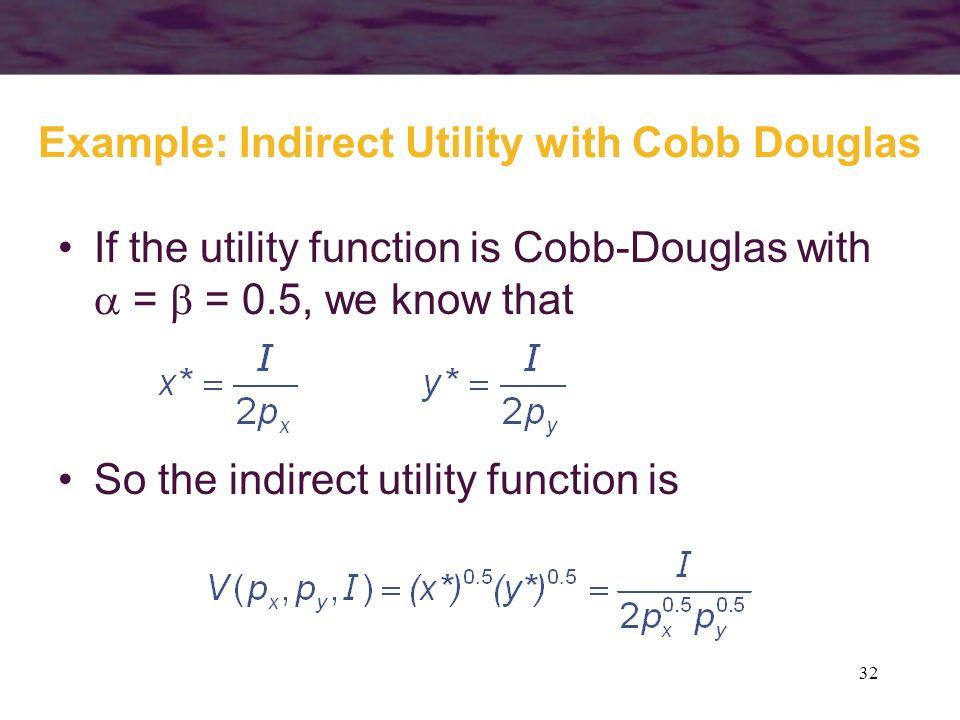 Example: Indirect Utility with Cobb Douglas