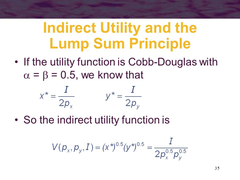 Indirect Utility and the Lump Sum Principle