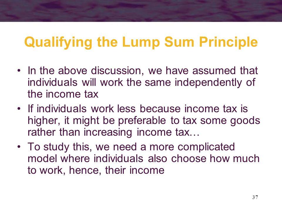 Qualifying the Lump Sum Principle