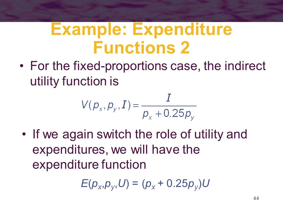 Example: Expenditure Functions 2