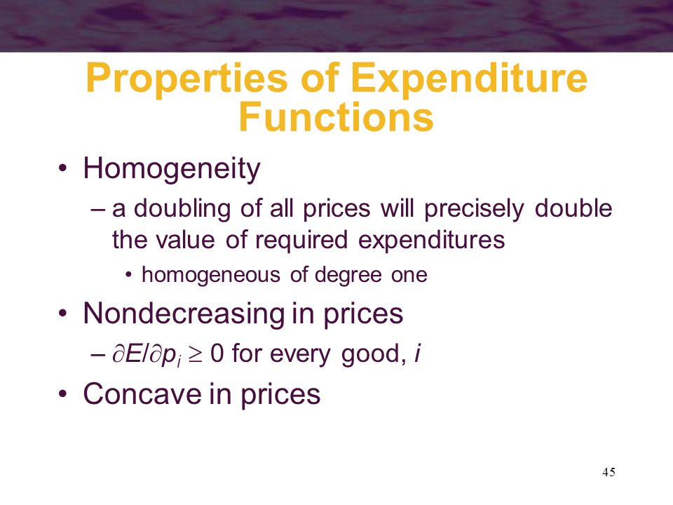Properties of Expenditure Functions