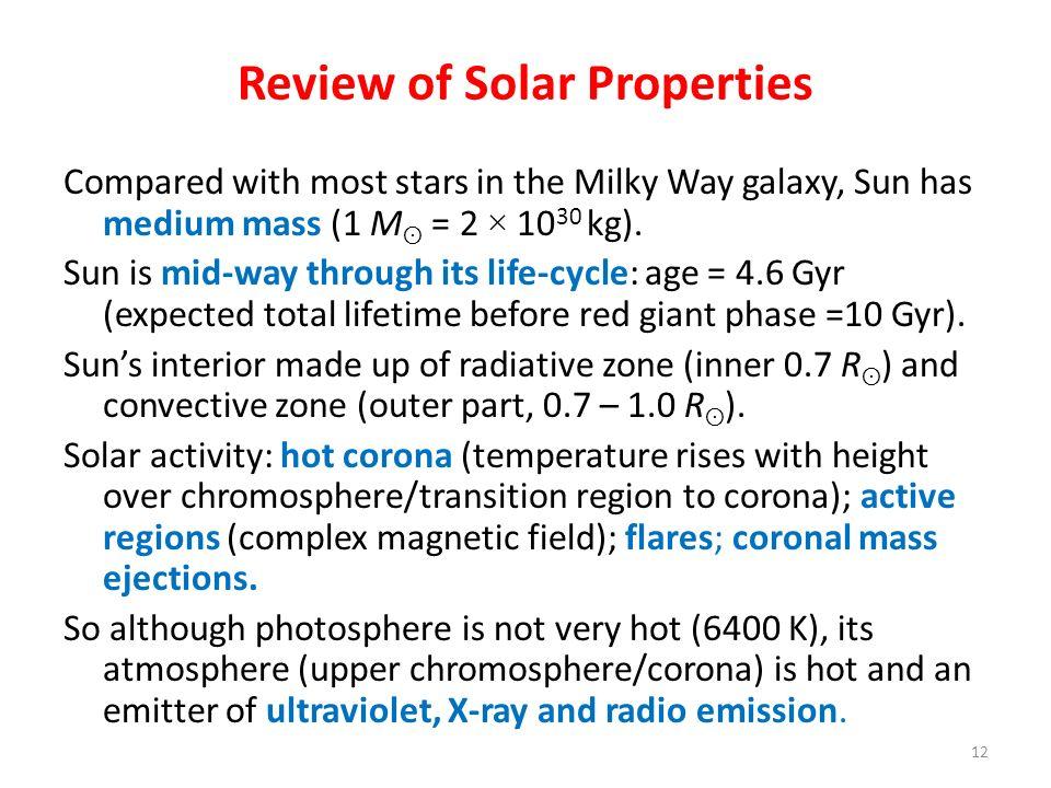 Review of Solar Properties