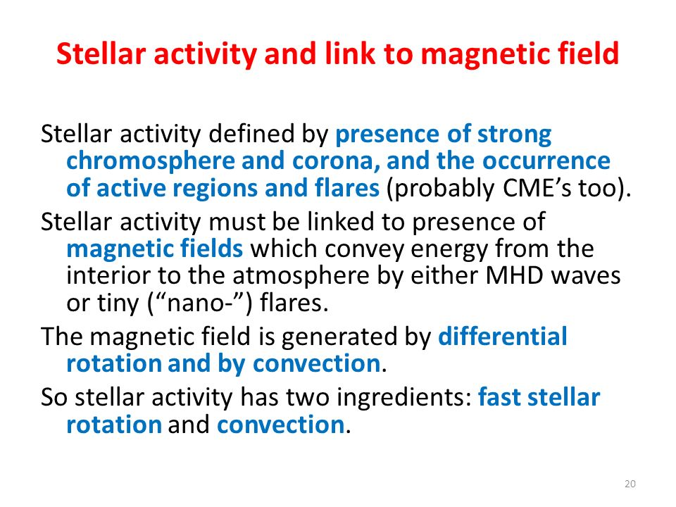 Stellar activity and link to magnetic field