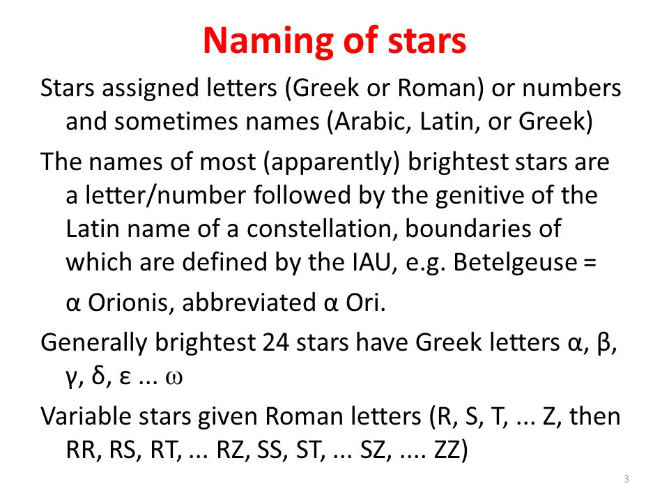 Naming of stars