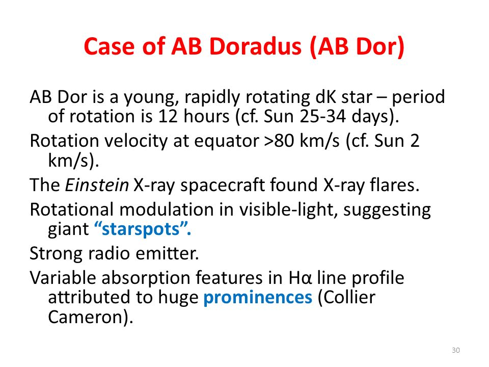 Case of AB Doradus (AB Dor)
