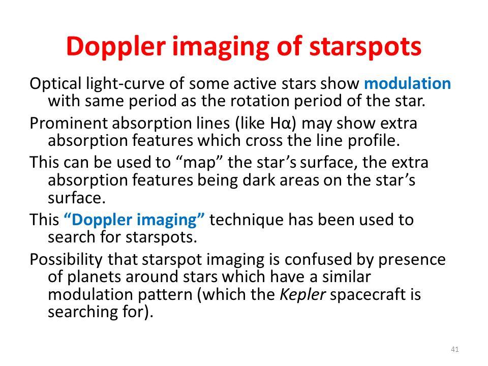 Doppler imaging of starspots