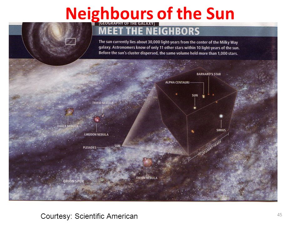 Neighbours of the Sun Courtesy: Scientific American