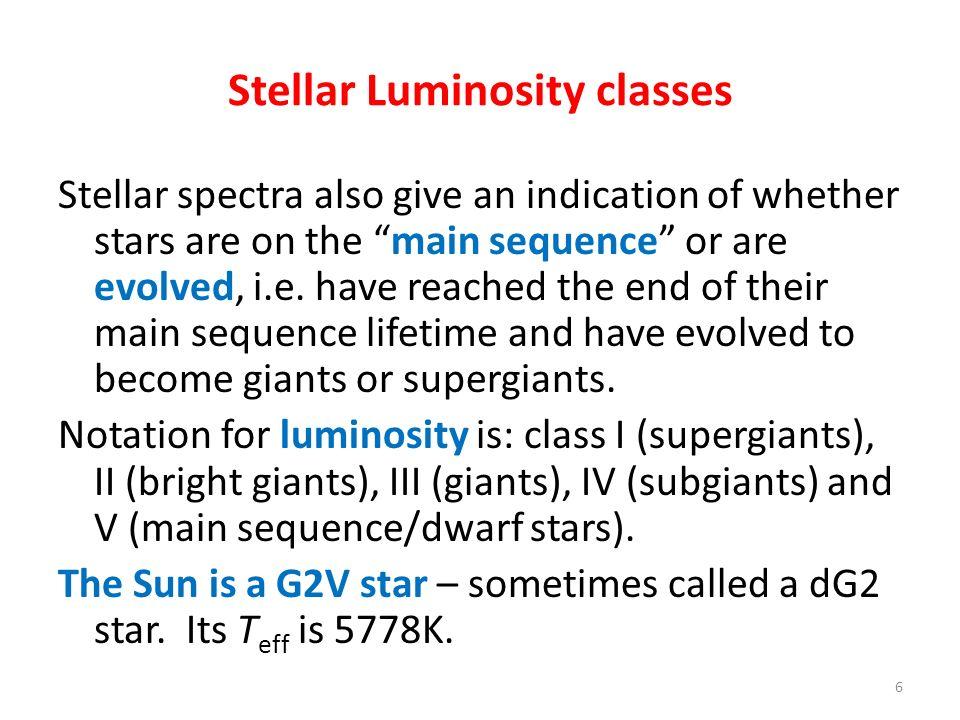 Stellar Luminosity classes