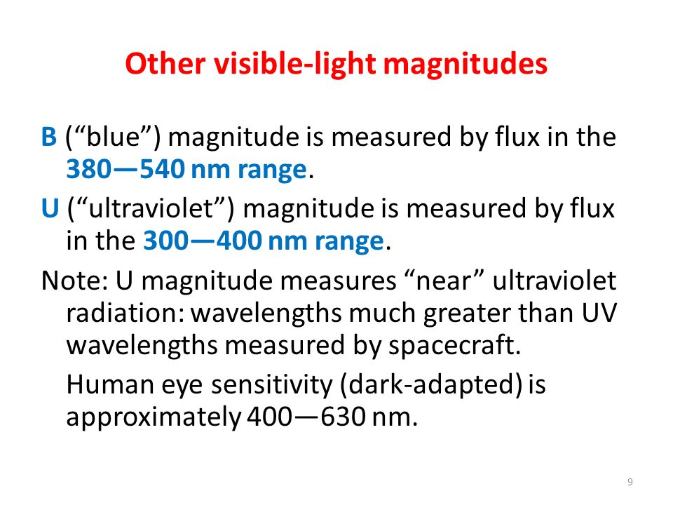 Other visible-light magnitudes