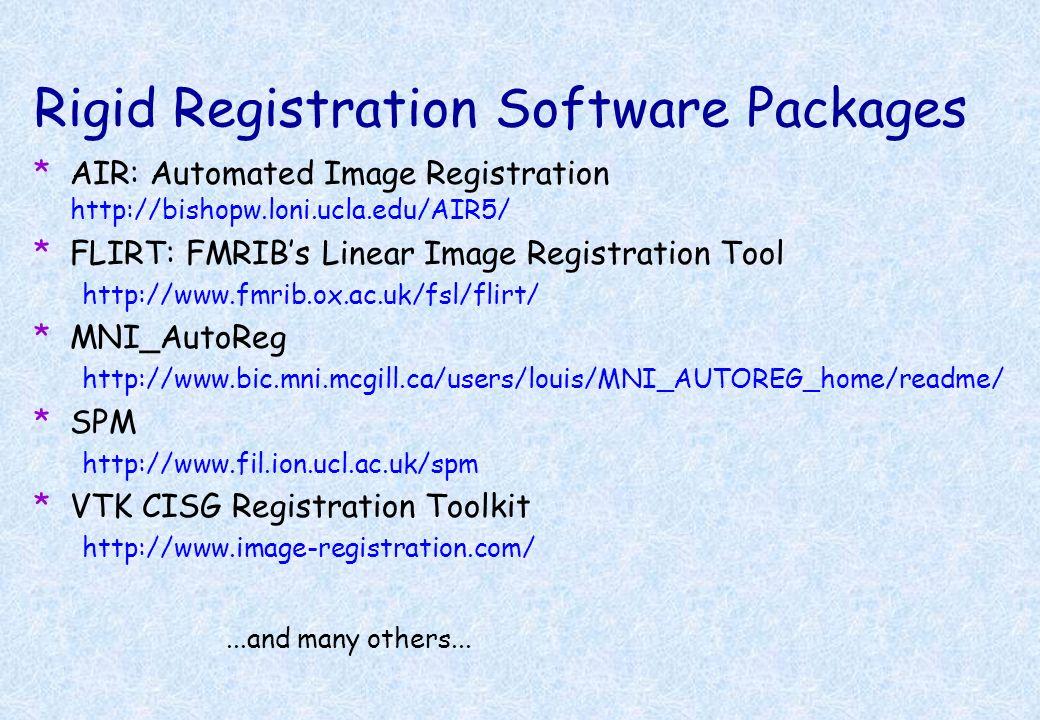 Rigid Registration Software Packages