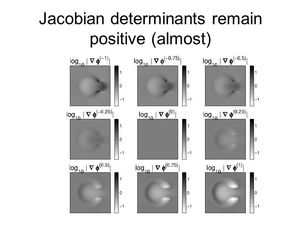 Jacobian determinants remain positive (almost)