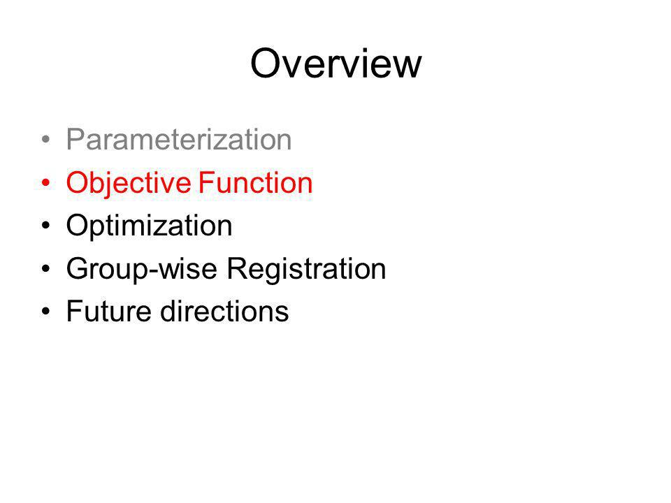 Overview Parameterization Objective Function Optimization