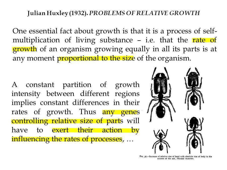 Julian Huxley (1932). PROBLEMS OF RELATIVE GROWTH