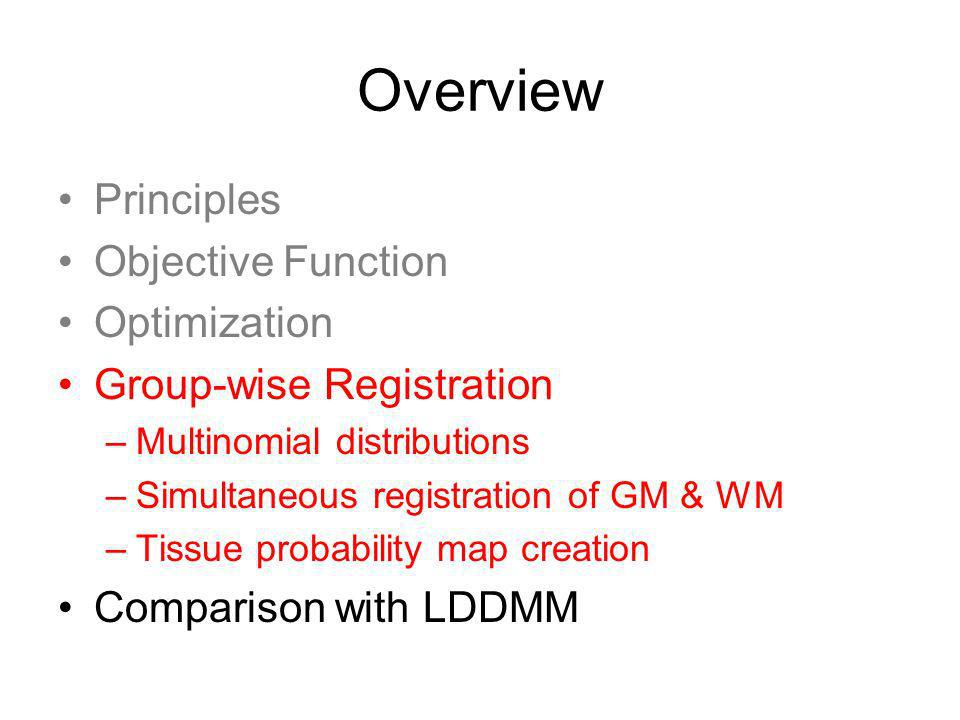 Overview Principles Objective Function Optimization